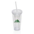 709 ML (24 OZ.) DOUBLE WALLED TUMBLER WITH STRAW