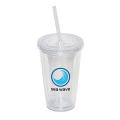 500 ML. 17 OZ. DOUBLE WALLED TUMBLER WITH STRAW